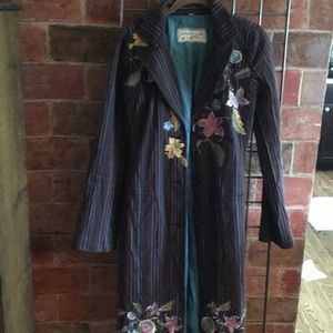 Johnny Was long embroidered coat